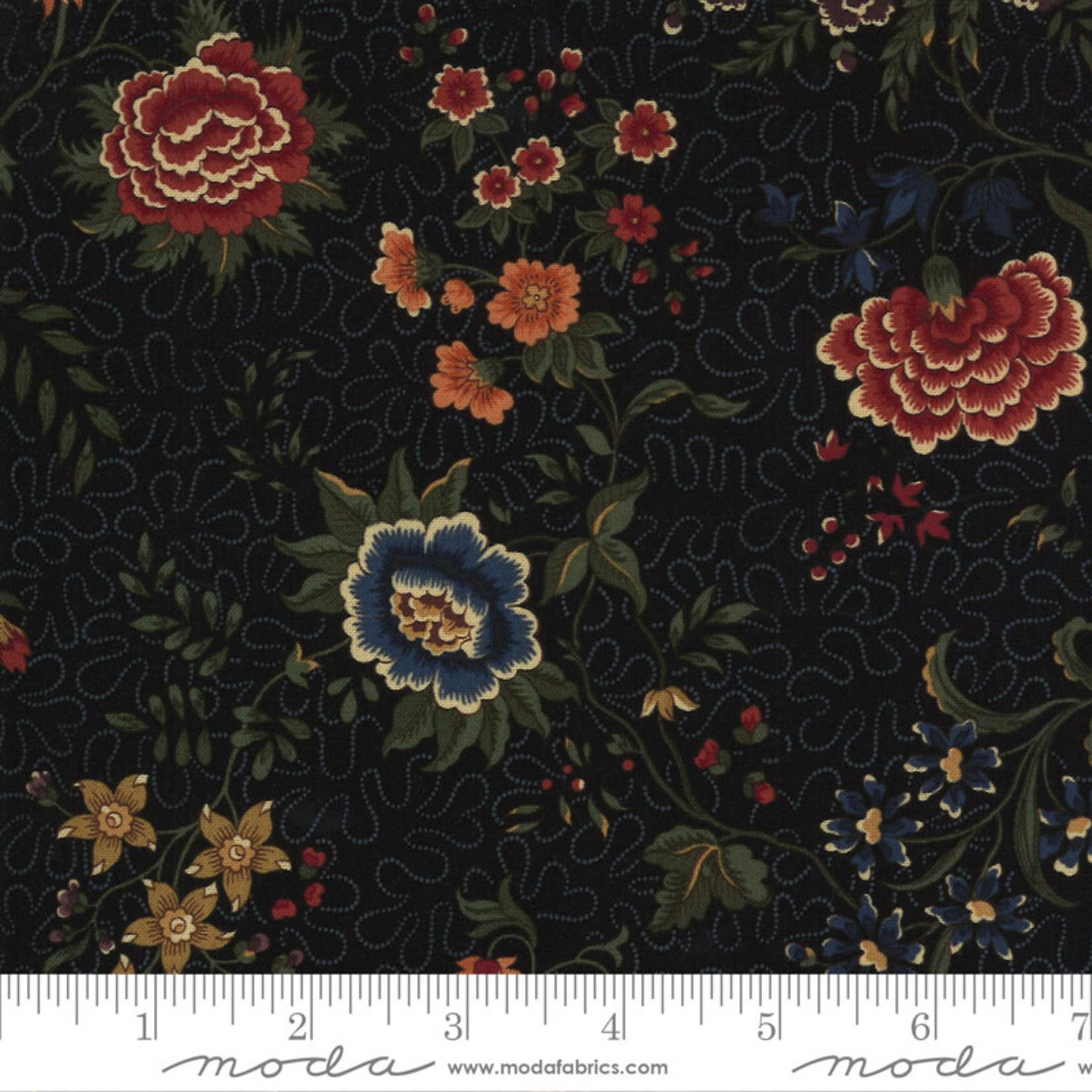 Kansas Troubles Quilters Prairie Dreams, Prairie Flowers Florals, Black 9650 19 $0.20 per cm or $20/m