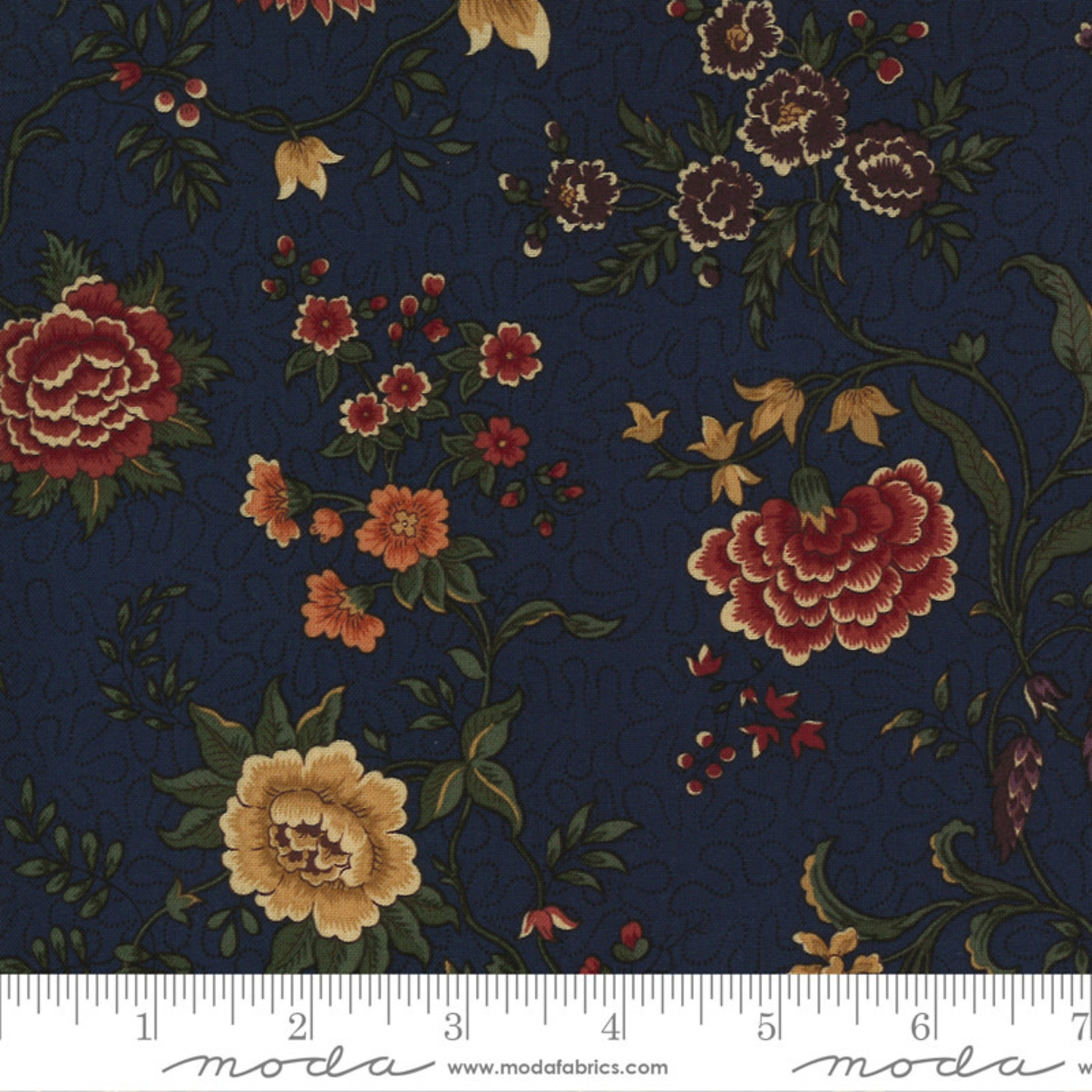 Kansas Troubles Quilters Prairie Dreams, Prairie Flowers Florals, Navy 9650 14 $0.20 per cm or $20/m