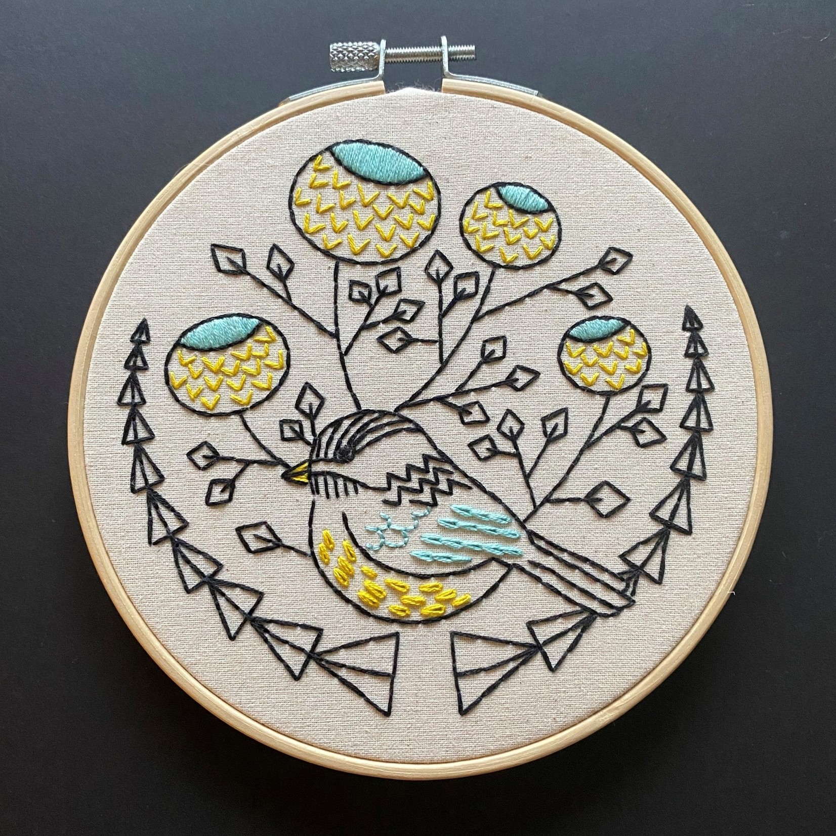 Hook Line and Tinker Chickadee Complete Embroidery Kit