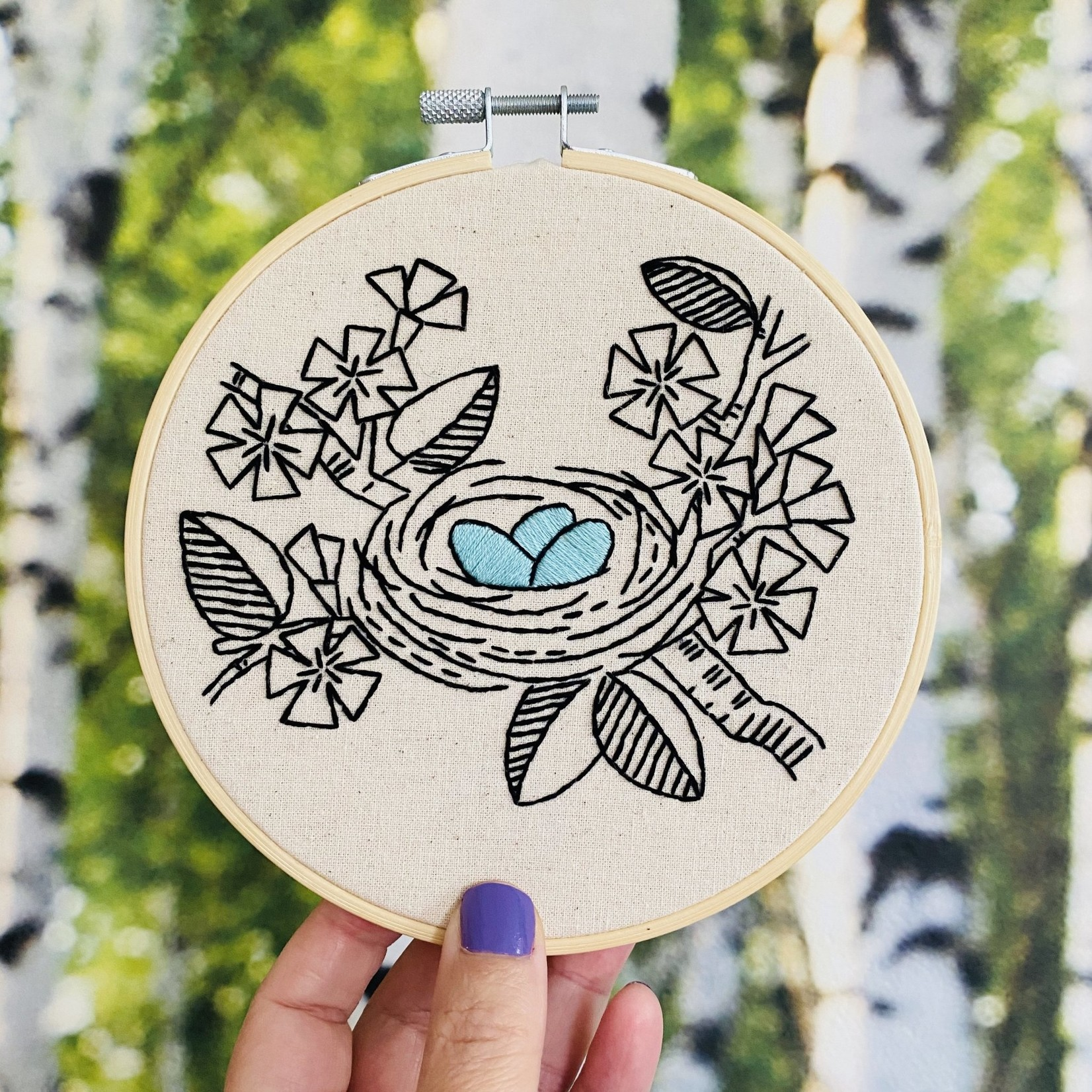Hook Line and Tinker Nest Complete Embroidery Kit
