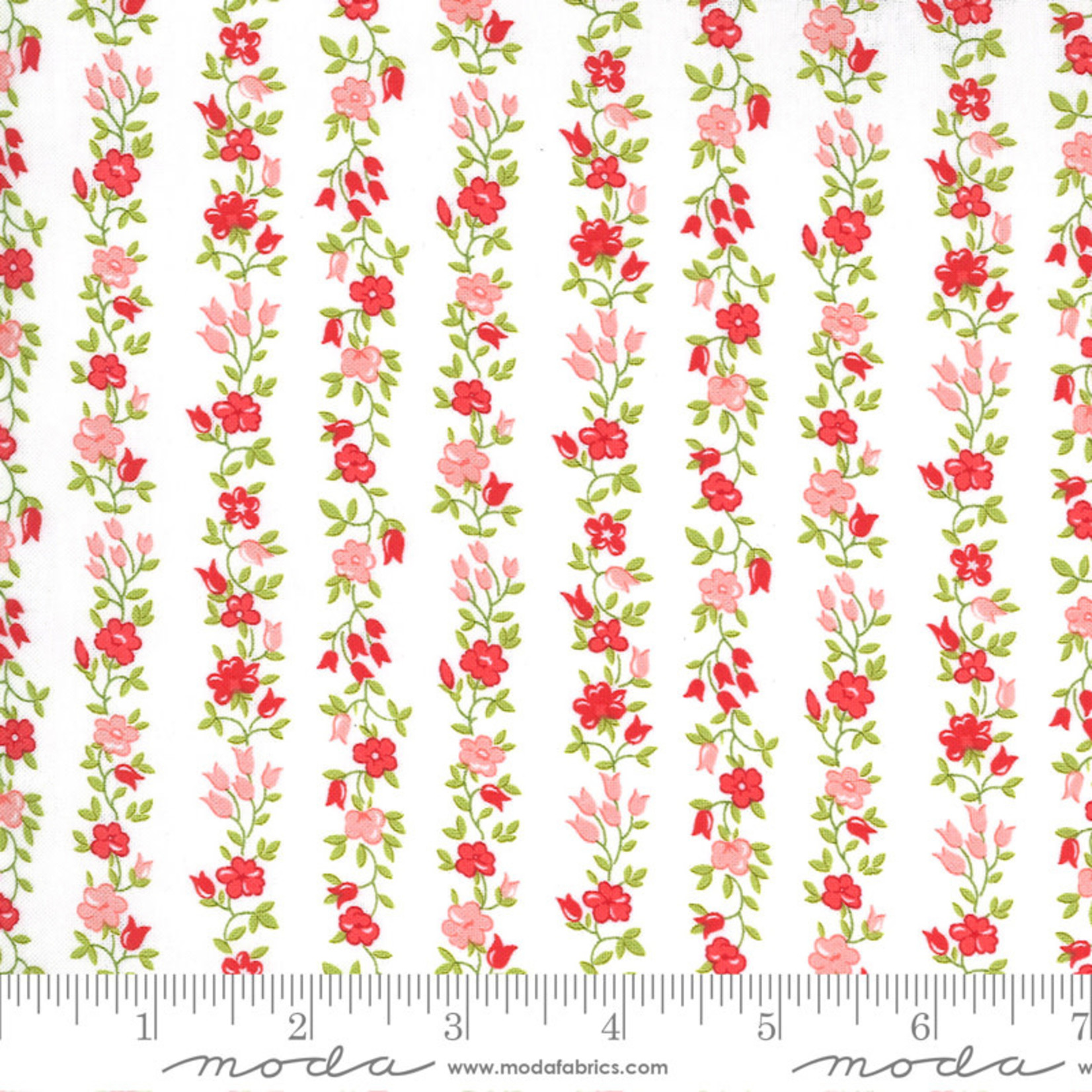 Bonnie & Camille Sunday Stroll, Freshly Cut, White Red 55224 11 $0.20 per cm or $20/m