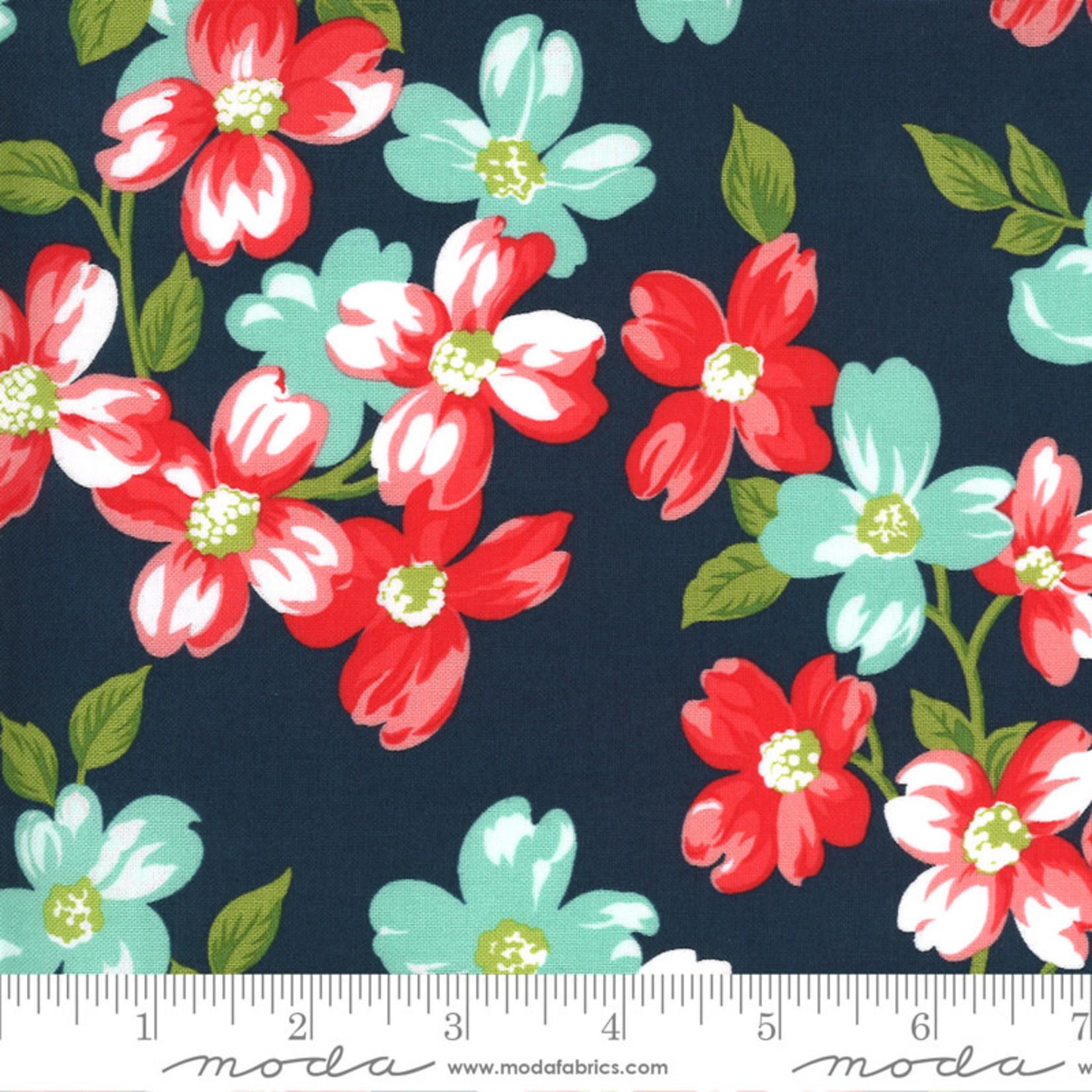 Bonnie & Camille Sunday Stroll, Full Bloom, Navy 55220 15 $0.20 per cm or $20/m