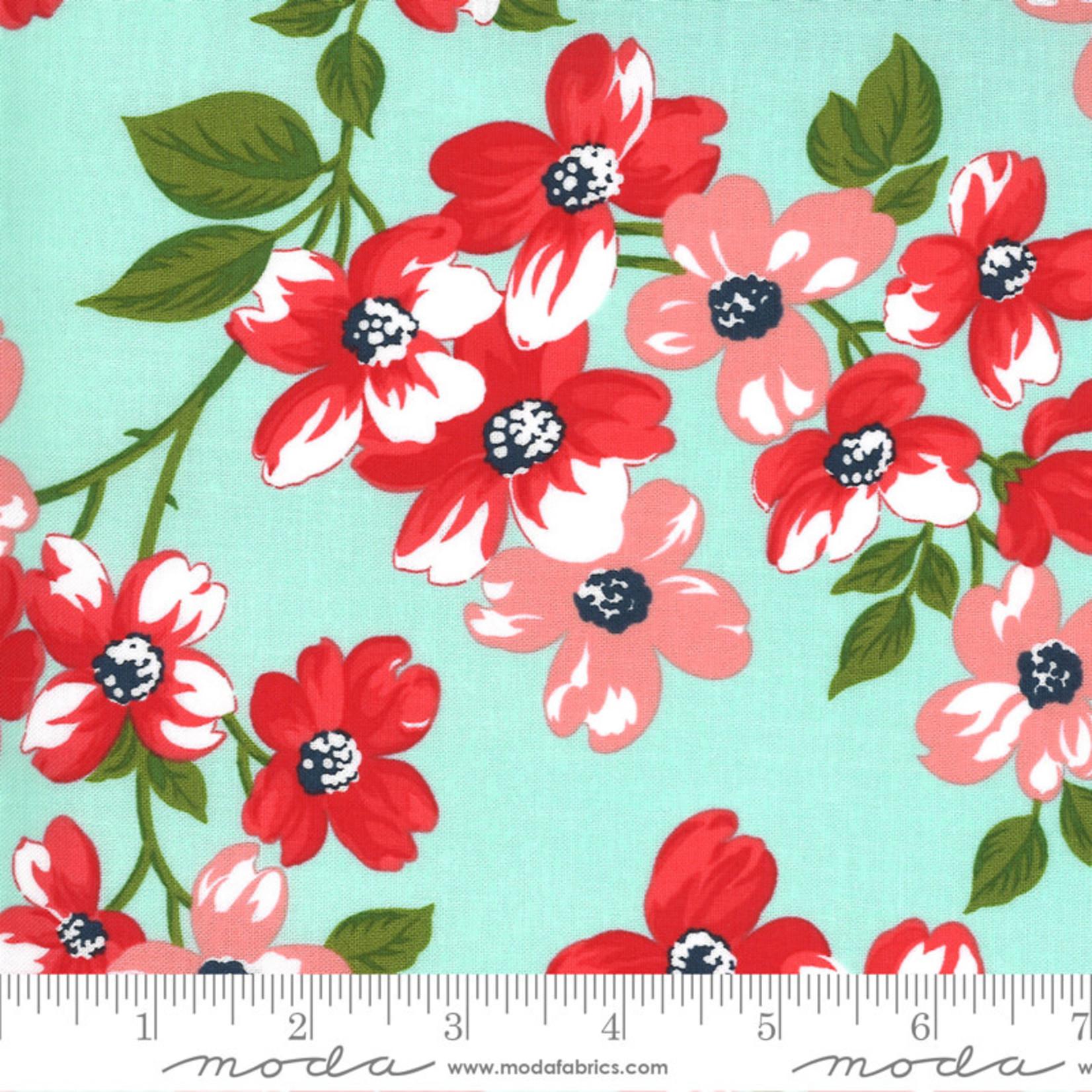 Bonnie & Camille Sunday Stroll, Full Bloom, Aqua 55220 14 $0.20 per cm or $20/m