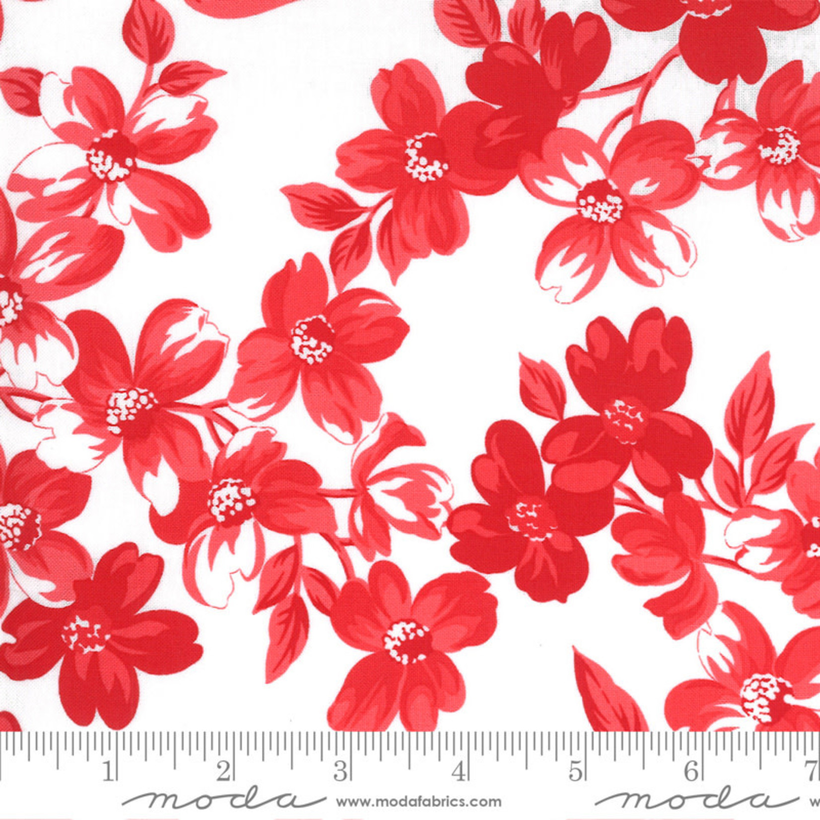 Bonnie & Camille Sunday Stroll, Full Bloom, White Red 55220 22 $0.20 per cm or $20/m