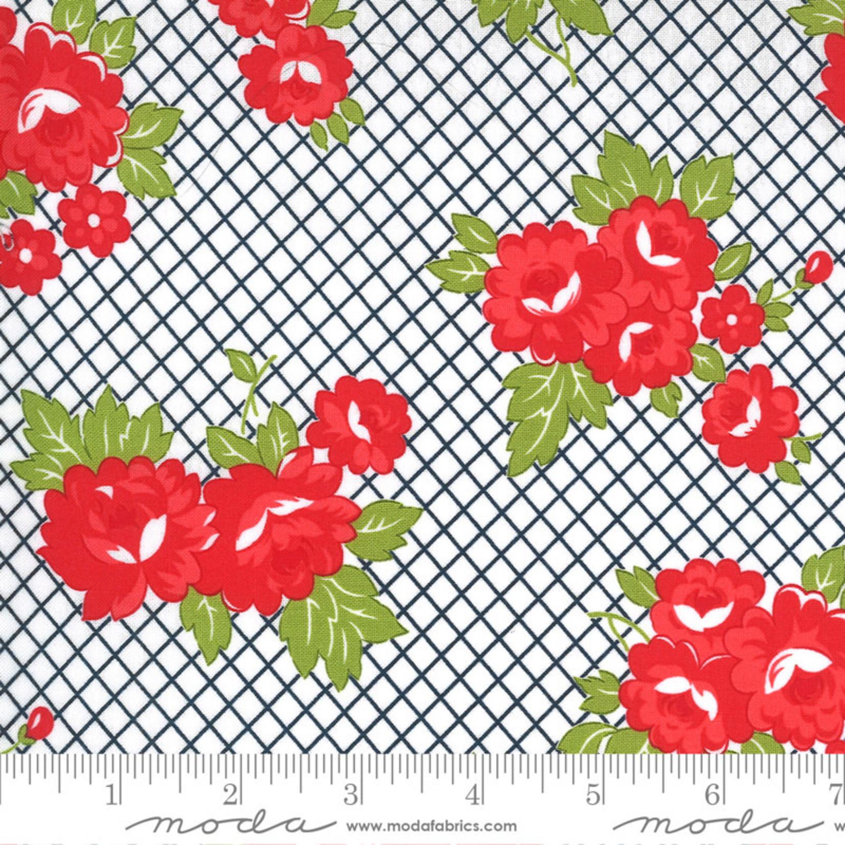 Bonnie & Camille Sunday Stroll, Garden, White Navy 55221 15 $0.20 per cm or $20/m