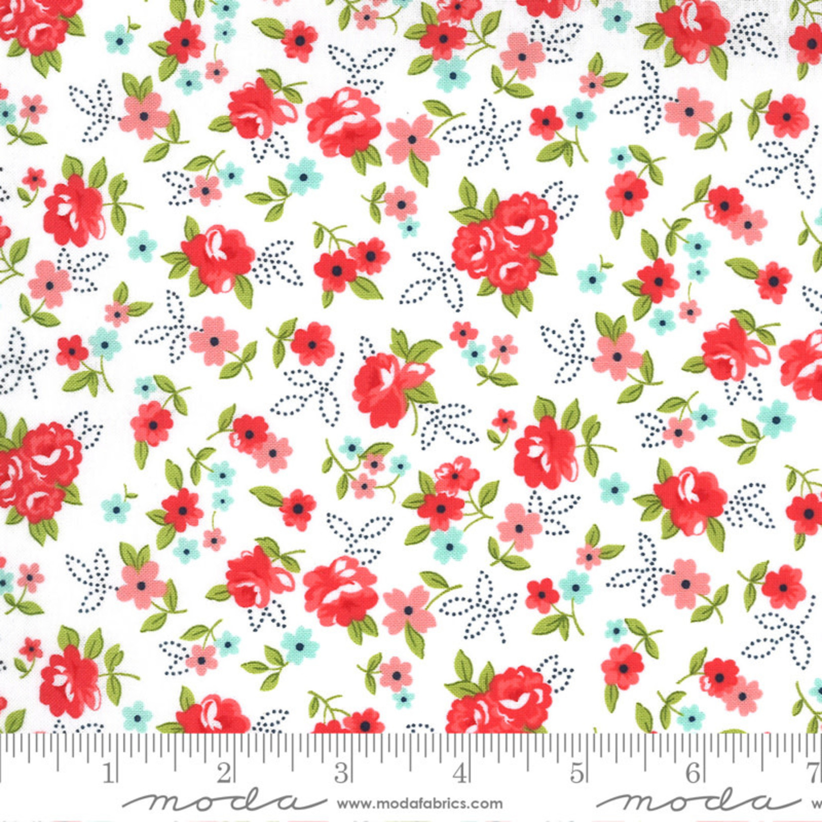 Bonnie & Camille Sunday Stroll, Little Floral, White Red 55222 21 $0.20 per cm or $20/m