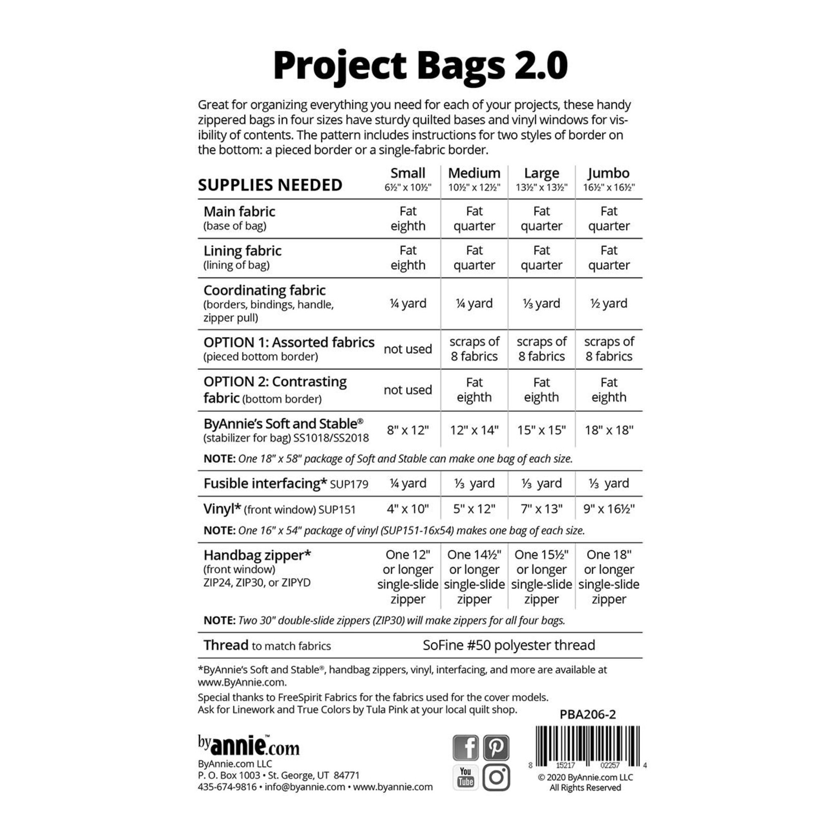 By Annie Project Bags 2.0 Pattern