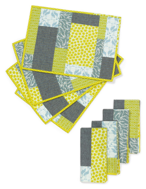 Colorblock Placemats and Napkins Free Pattern