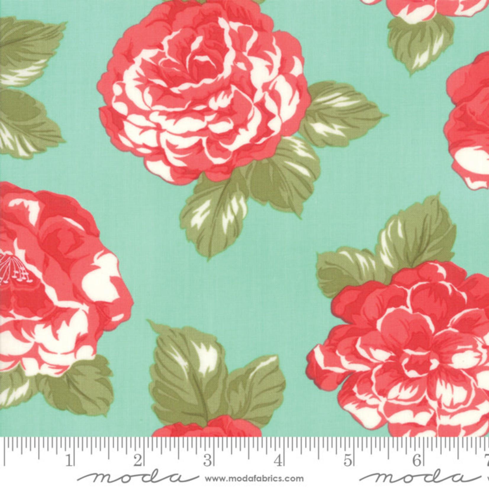 "Bonnie & Camille Early Bird Blooms Aqua 108"" wide $0.33 per cm or $33/m"