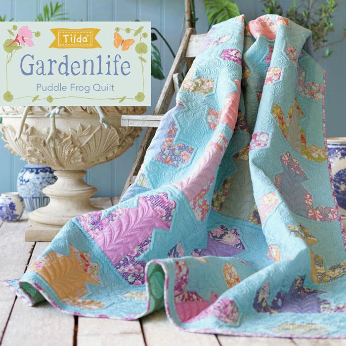 Tilda Gardenlife Puddle Frog Quilt Free Pattern