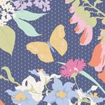 Tilda Gardenlife, Blue, Blue 100318 $0.20 per cm or $20/m