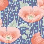 Tilda Gardenlife, Poppies, Blue 100319 $0.20 per cm or $20/m