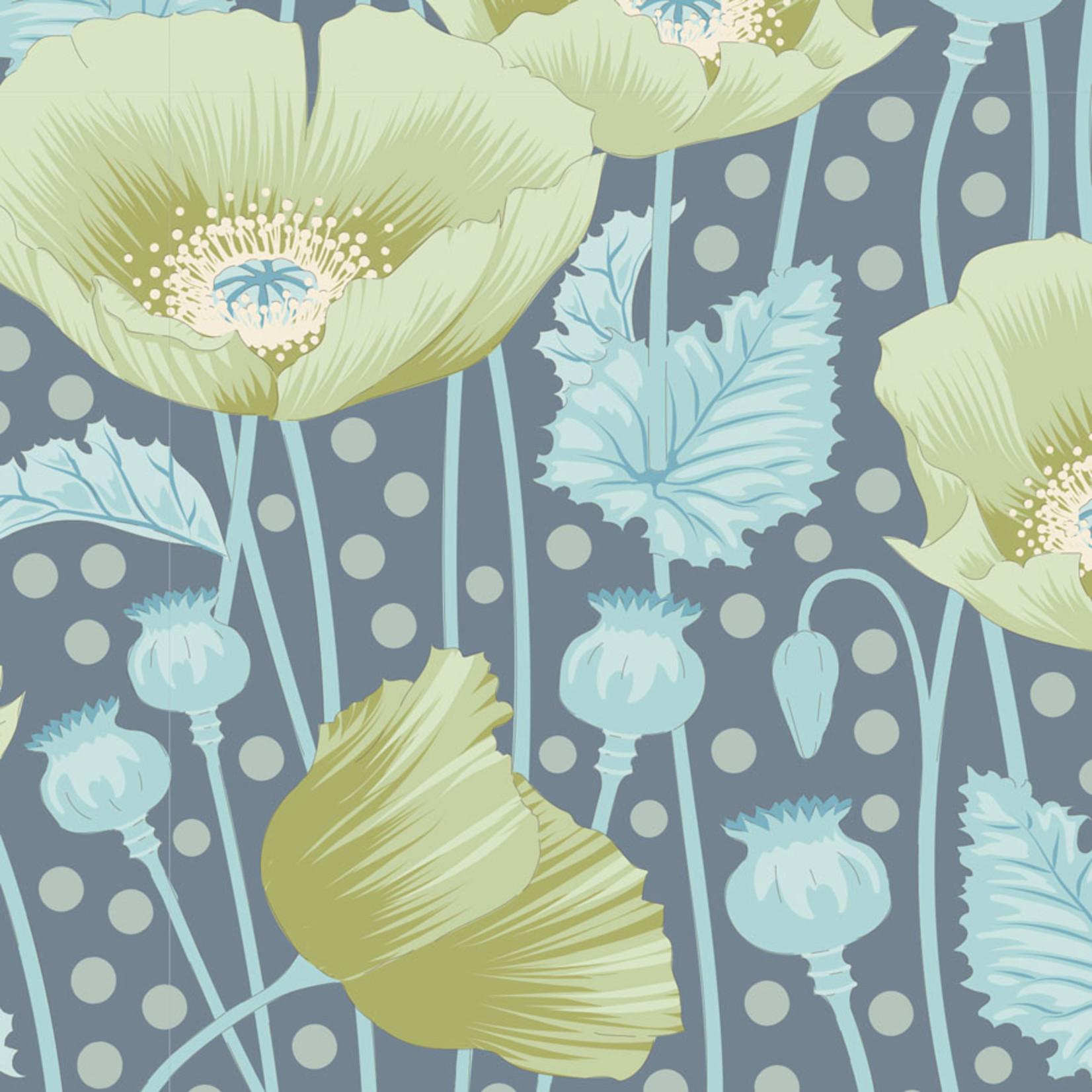 Tilda Gardenlife, Poppies, Grey Green 100312 $0.20 per cm or $20/m