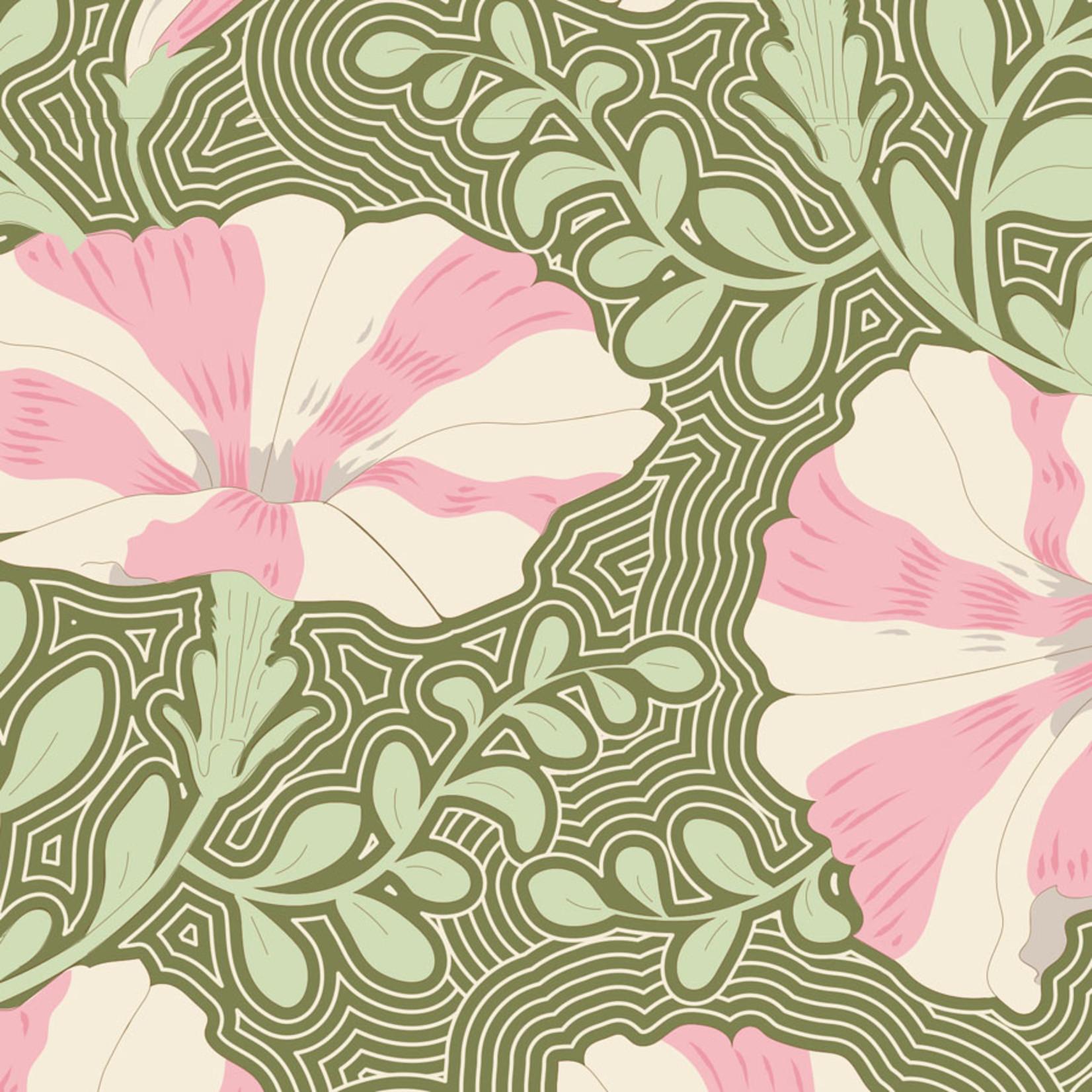 Tilda Gardenlife, Striped Petunia, Green 100313 $0.20 per cm or $20/m