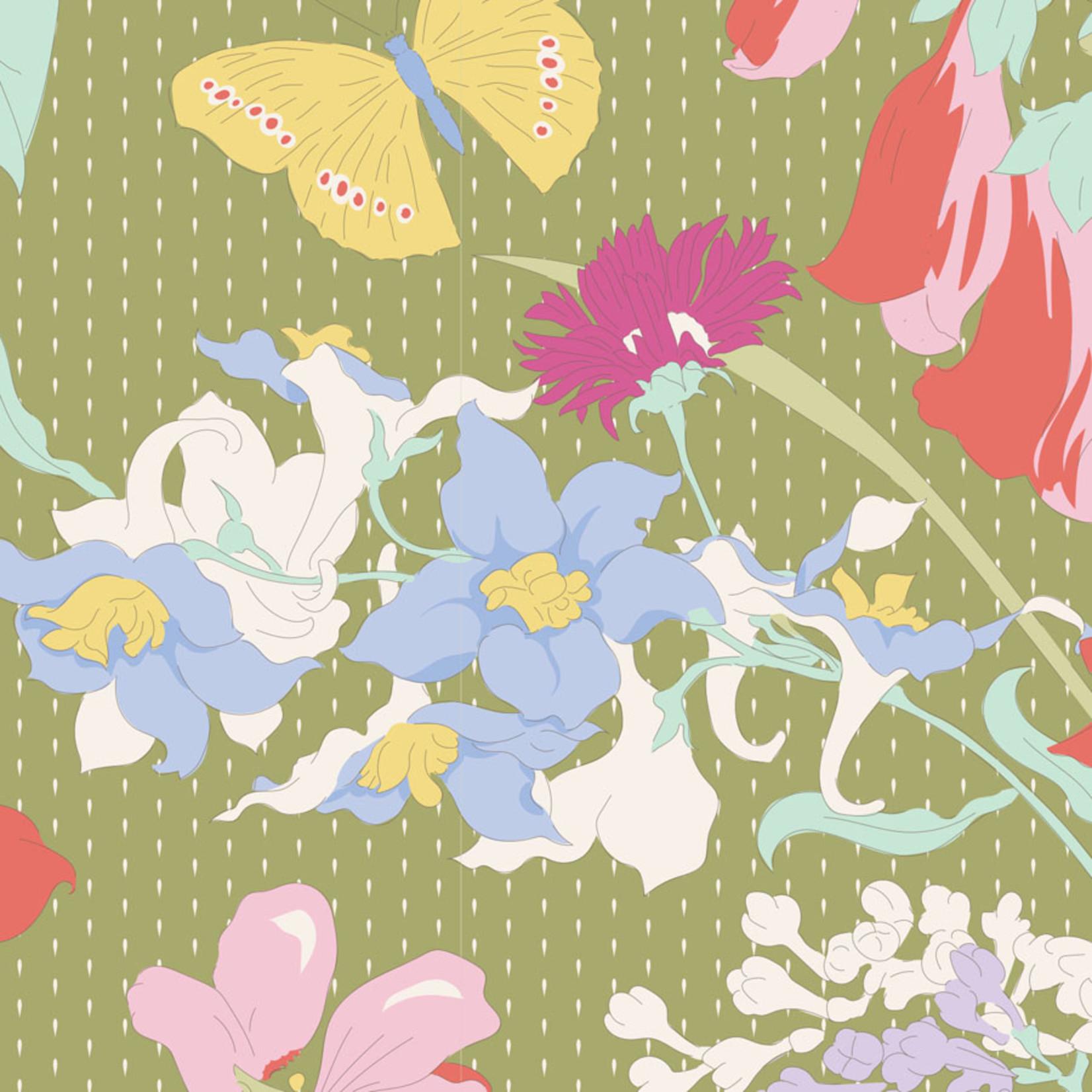 Tilda Gardenlife, Green, Green 100315 $0.20 per cm or $20/m