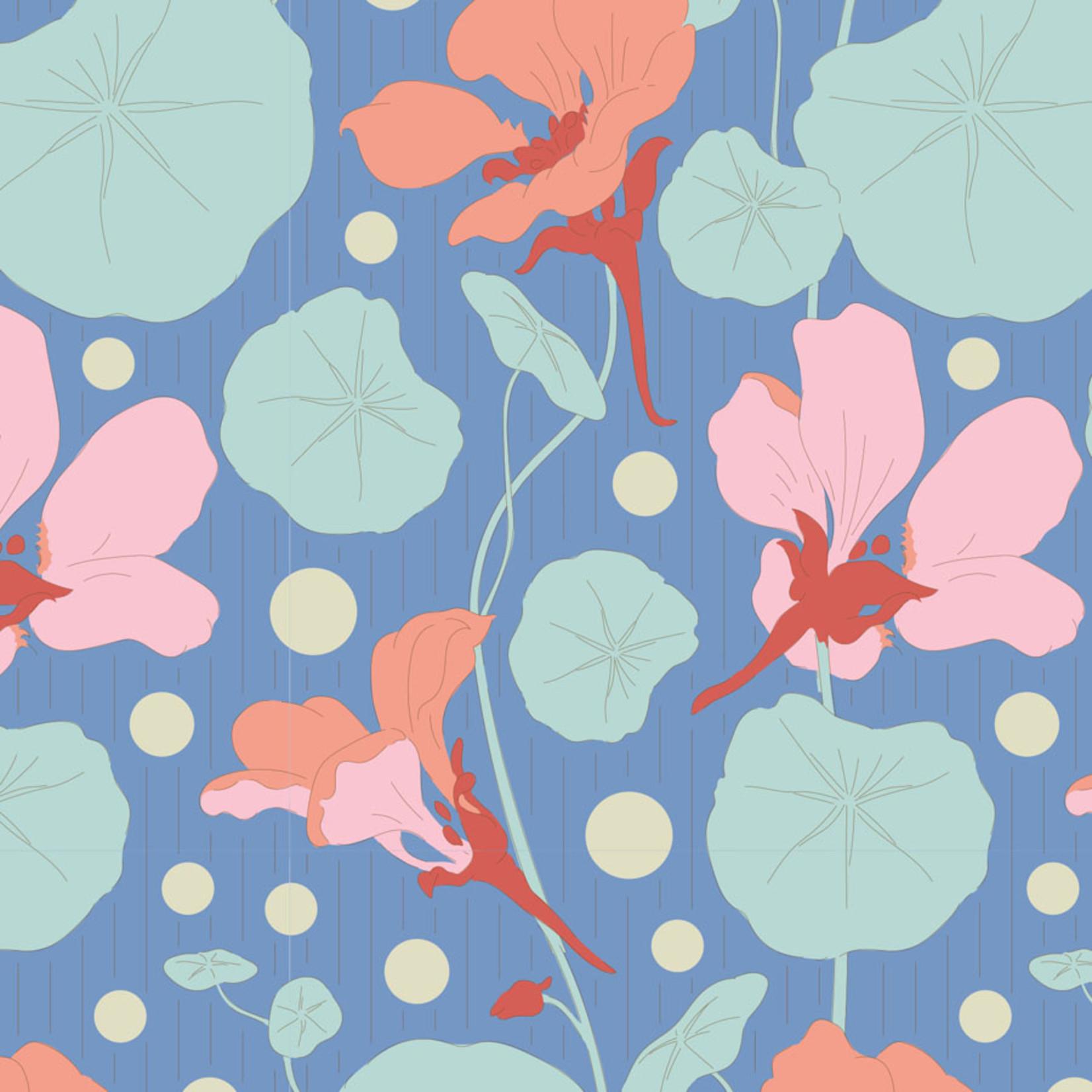 Tilda Gardenlife, Nasturtium, Blue 100317 $0.20 per cm or $20/m