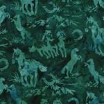 Hoffman Canadian Wilderness Batik, Horses, Viridian 2907-309 $0.19 per cm or $19/m
