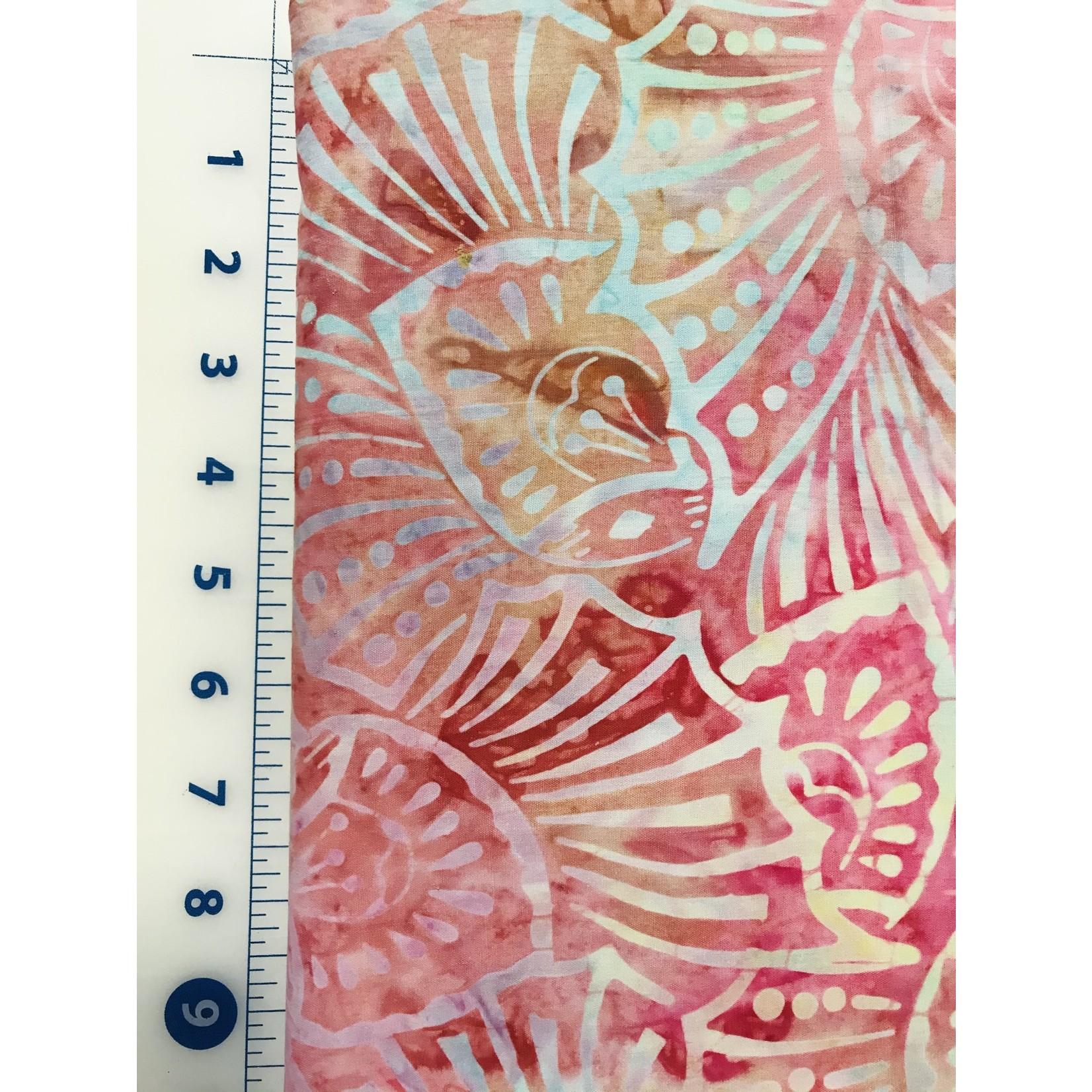 Batik 390cm Blue Yellow Clamshells on Deep Rose Batik $0.16 per cm or $16/m