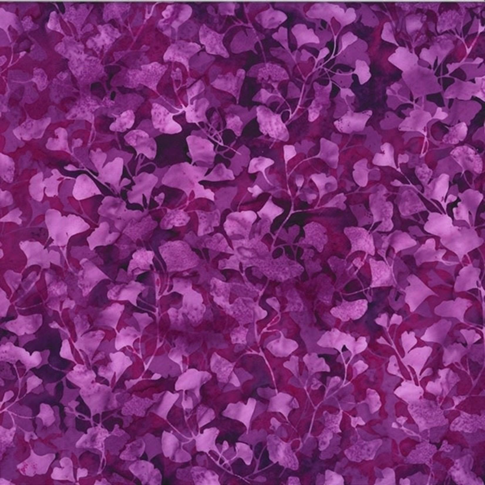 Hoffman Bali Batiks, Leaves, Amethyst 2376-91 $0.20 per cm or $20/m