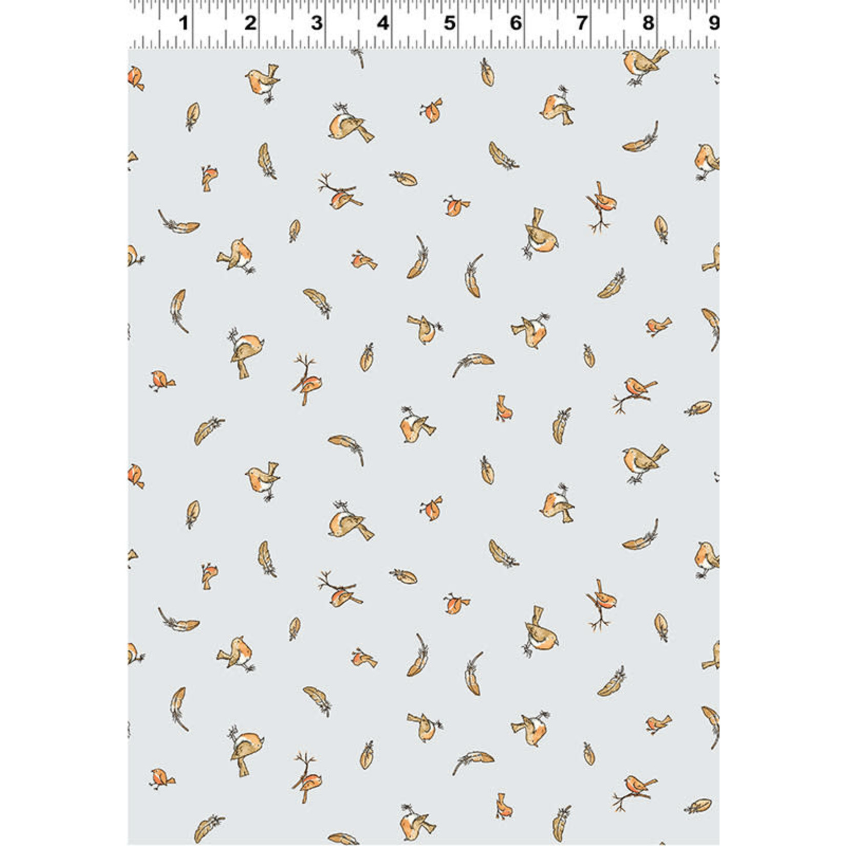 Clothworks Guess How Much I Love You, Tossed Birds & Feathers, Grey (Y3082-118) 1 meter