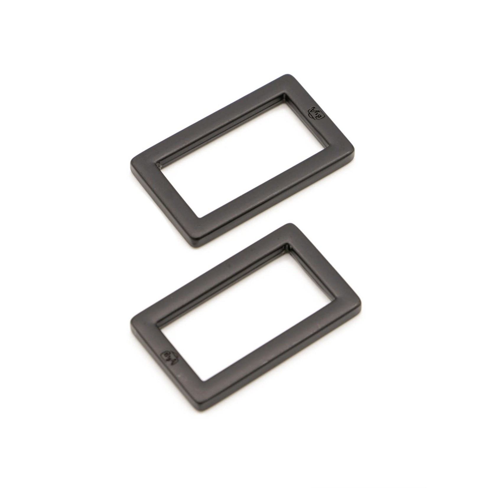 By Annie Rectangle Ring Flat 1in Black Metal Set of Two