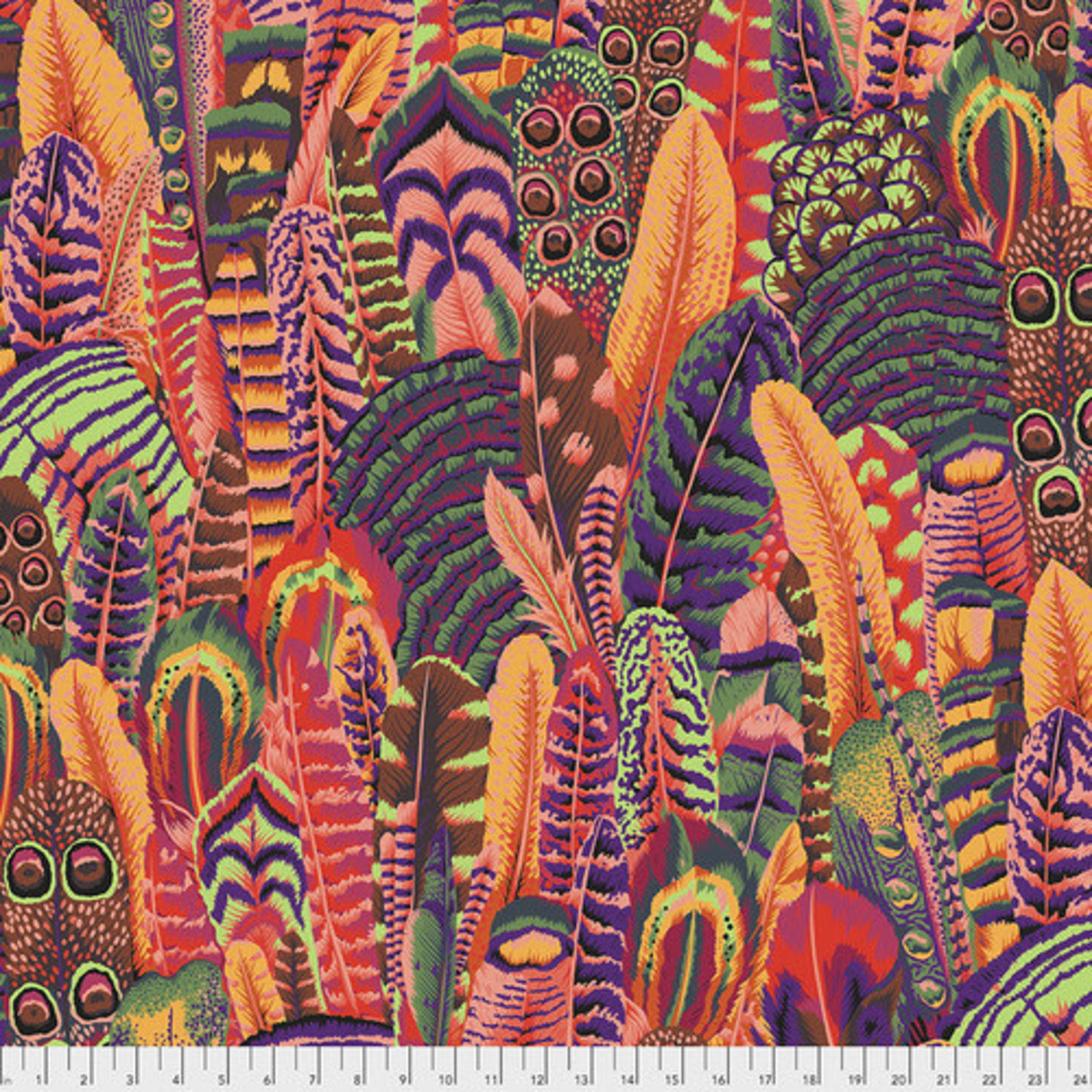Kaffe Fassett KF Collective - Feathers, Summer (PWPJ055.SUMMER) $0.18 per cm or $18/m