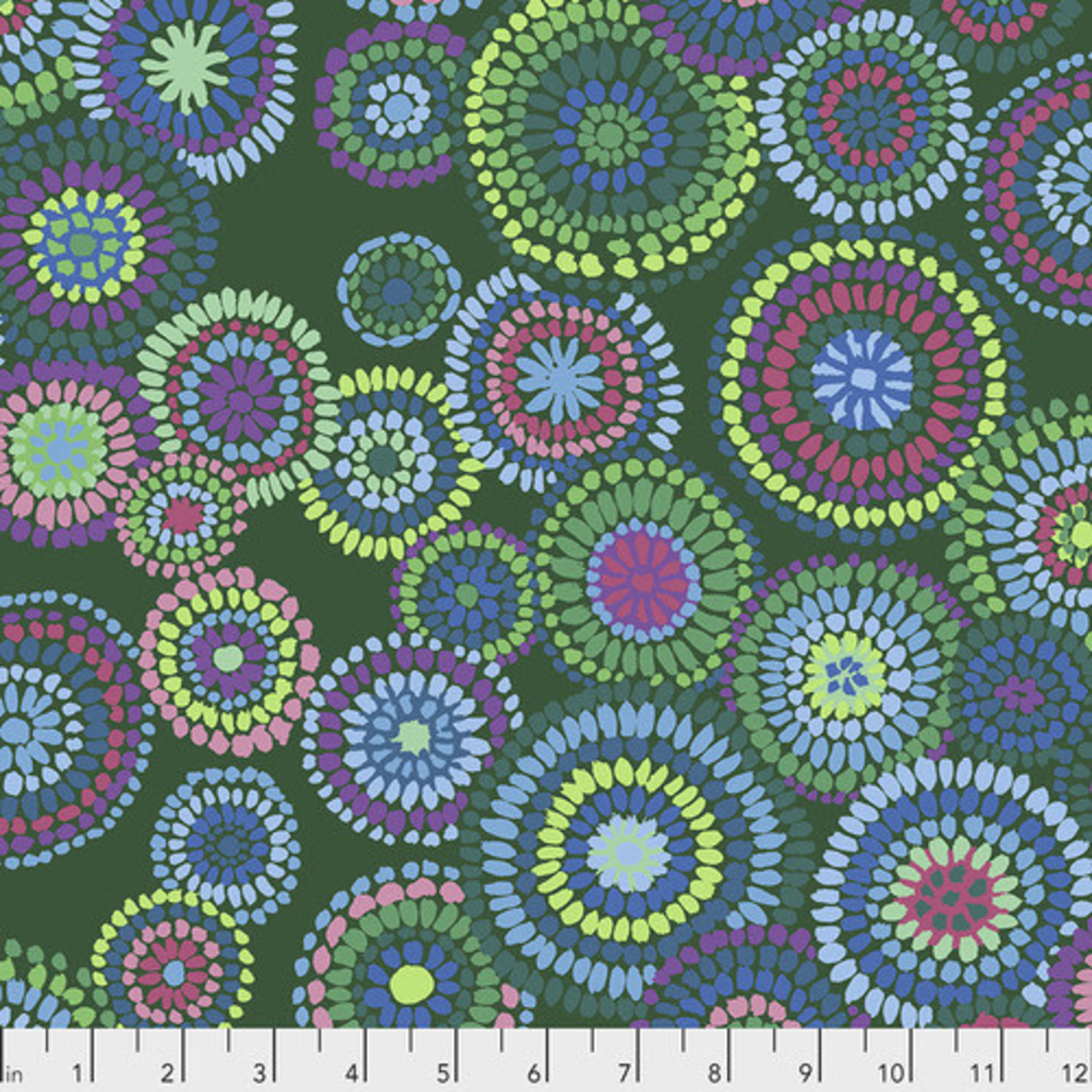 Kaffe Fassett KF Collective - Mosaic Circles, Green (PWGP176.GREEN) $0.18 per cm or $18/m