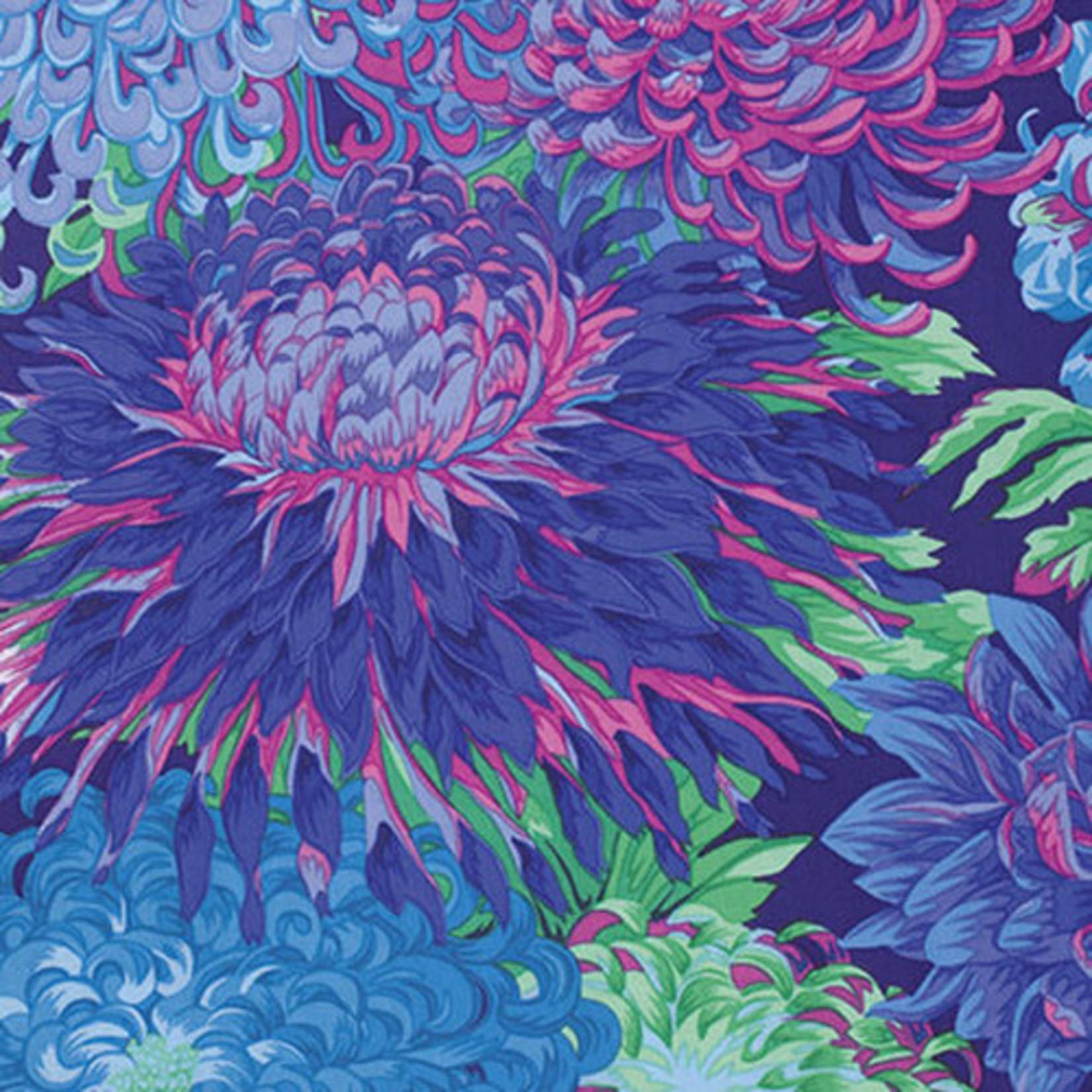 Kaffe Fassett KF Collective - Japanese Chrysanthemum, Blue (PWPJ041.BLUEX) $0.18 per cm or $18/m