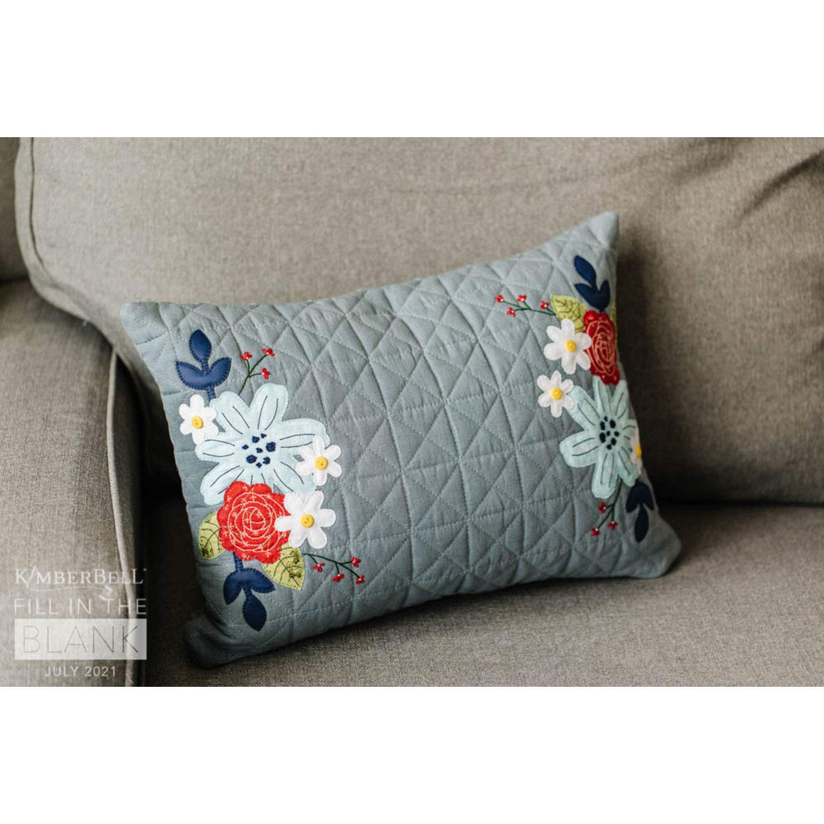 Kimberbell Designs Quilted Pillow Cover Blank, Lumbar, Patriot Blue