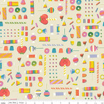 Riley Blake Designs Tiny Treaters, Retro Candy, Cream (C10482-CREAM) $0.20 per cm or $20/m