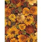 Timeless Treasures Fall Glory, Flowers, Autumn (CM6140) $0.20 per cm or $20/m