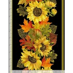 "Timeless Treasures Fall Glory, Metallic Harvest Sunflower Border Stripe 11"" repeat, Black (CM8541) $0.20 per cm or $20/m"