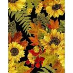 Timeless Treasures Fall Glory, Metallic Pinecone Sunflower Bouquets, Black (CM8542) $0.20 per cm or $20/m