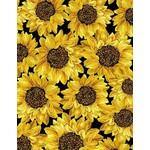 Timeless Treasures Fall Glory, Packed Metallic Sunflowers, Black (CM8543) $0.20 per cm or $20/m