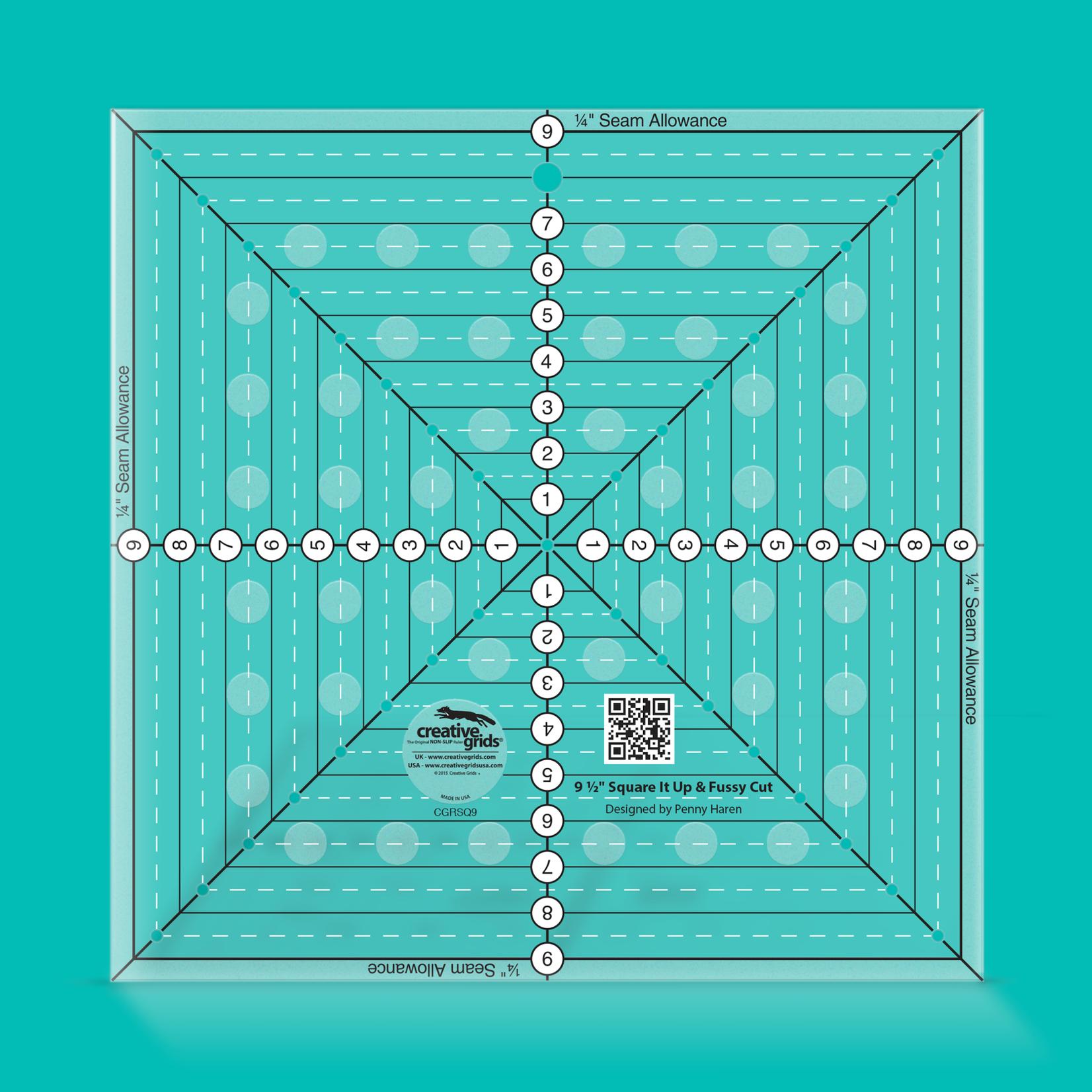 "Creative Grids Creative Grids 9-1/2"" Square It Up or Fussy Cut Square CGRSQ9"