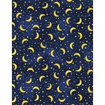 Timeless Treasures 90cm I LOVE YOU TO THE MOON AND BACK, TOSSED MOONS & STARS, NAVY $20/M