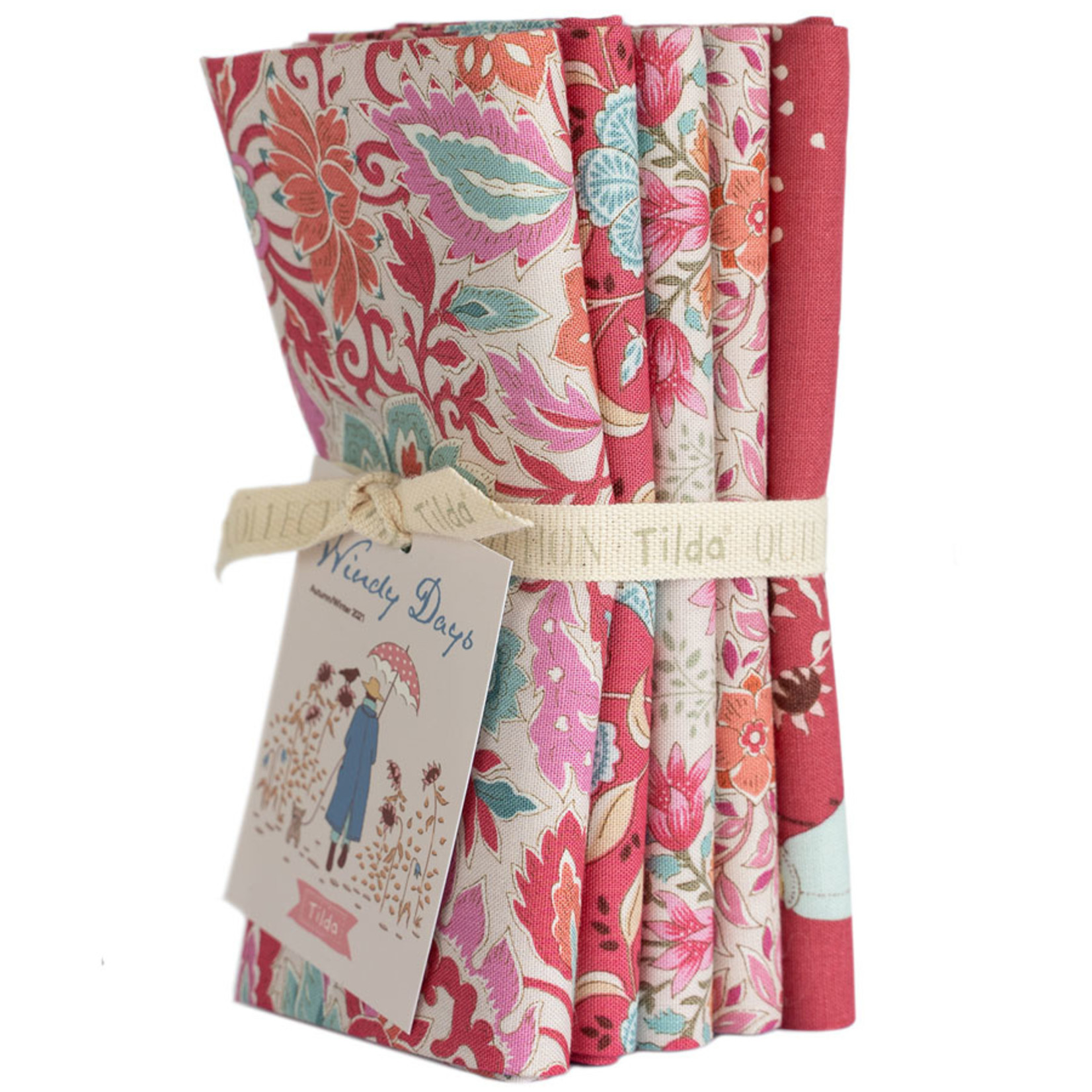 Tilda Windy Days Fat Quarter Bundle Red & Pink 5 pcs 300115