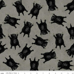 Riley Blake Designs Goose Tales, Scaredy Cats Toss Gray, per cm or $20/m Halloween
