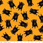 Riley Blake Designs Goose Tales, Scaredy Cats Toss Orange, per cm or $20/m Halloween