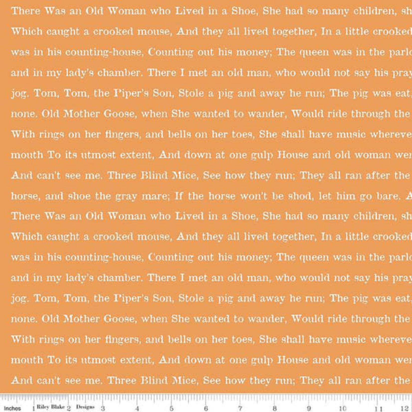 Riley Blake Designs Goose Tales, Text Orange, per cm or $20/m Halloween