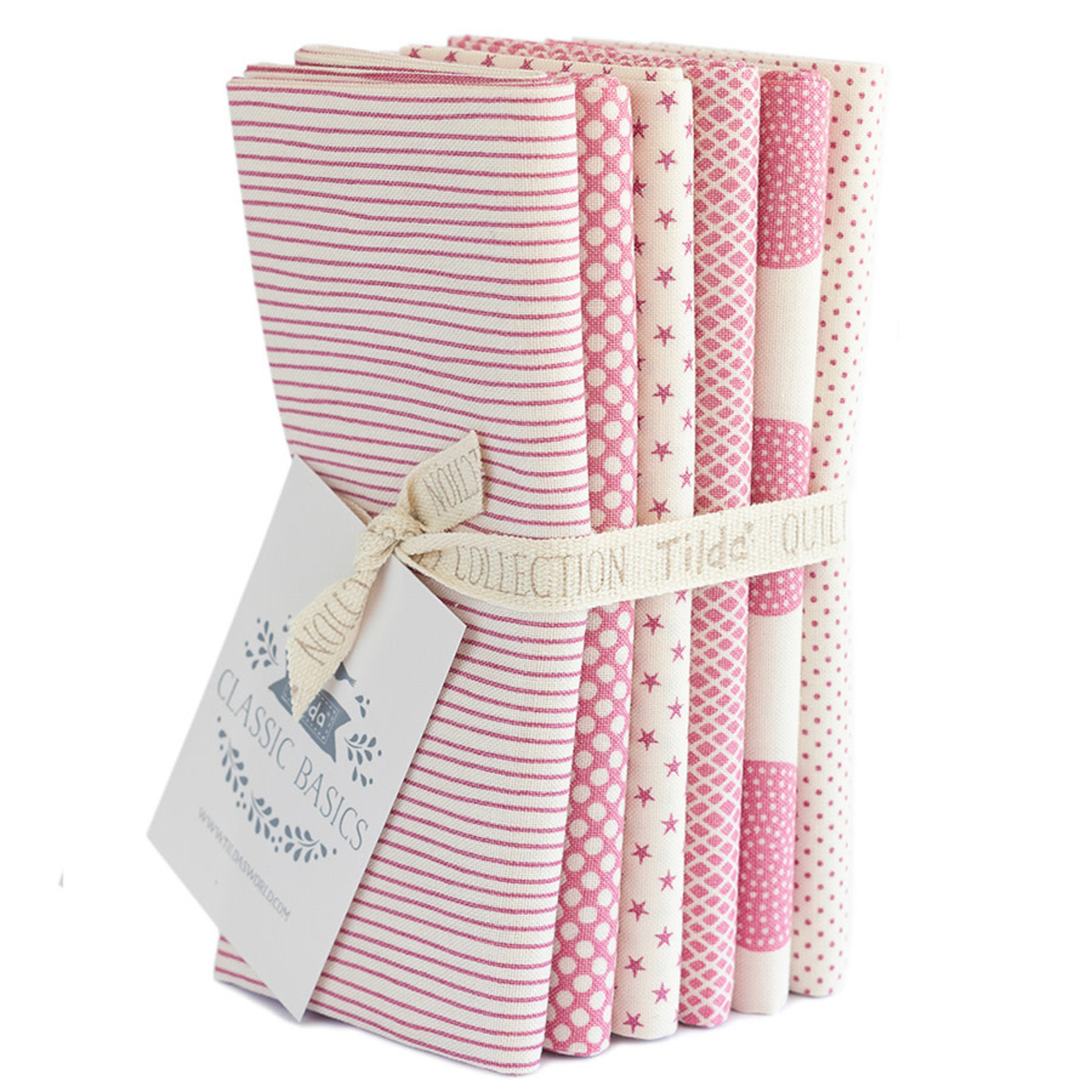 Tilda Tilda Basic, Fat Quarter  Bundle Classic Pink 6 pcs 300034
