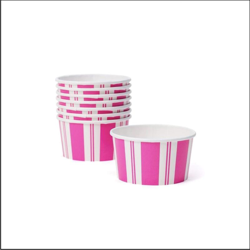 Awning Stripe Pink & White Treat Cups