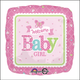 """18"""" Mylar Welcome Baby Girl"""" Pink Square - #275"""
