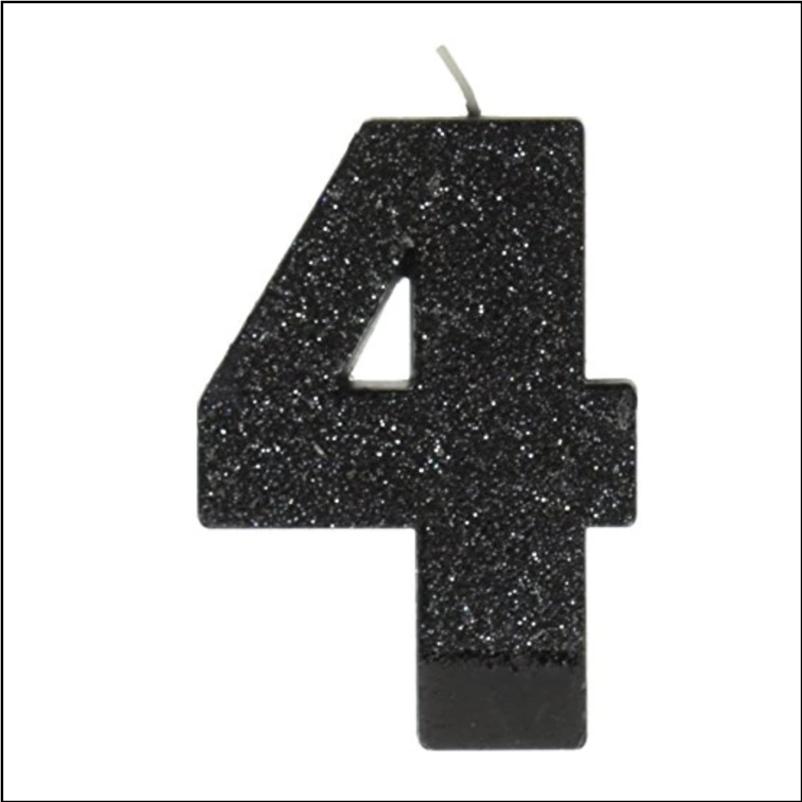 Black #4 Glitter Candle