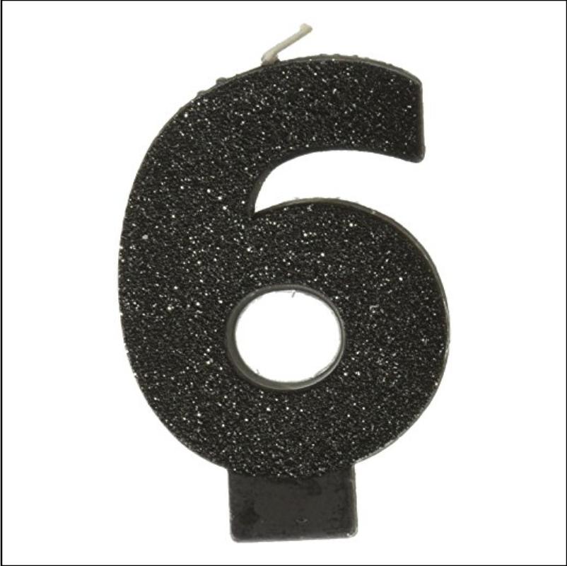 Black #6 Glitter Candle