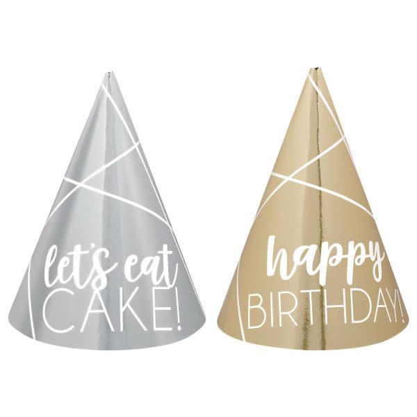 Silver & Gold Mini Cone Birthday Hats - 12 Pcs