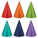 Birthday Accessories Rainbow Foil Cone Hats