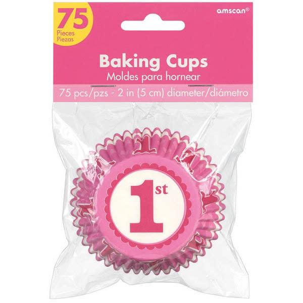 1st Girls Birthday Baking Cups - 75 Pcs