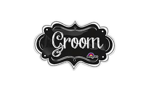 "Groom Chalkboard Style Mylar Balloon - 34"""