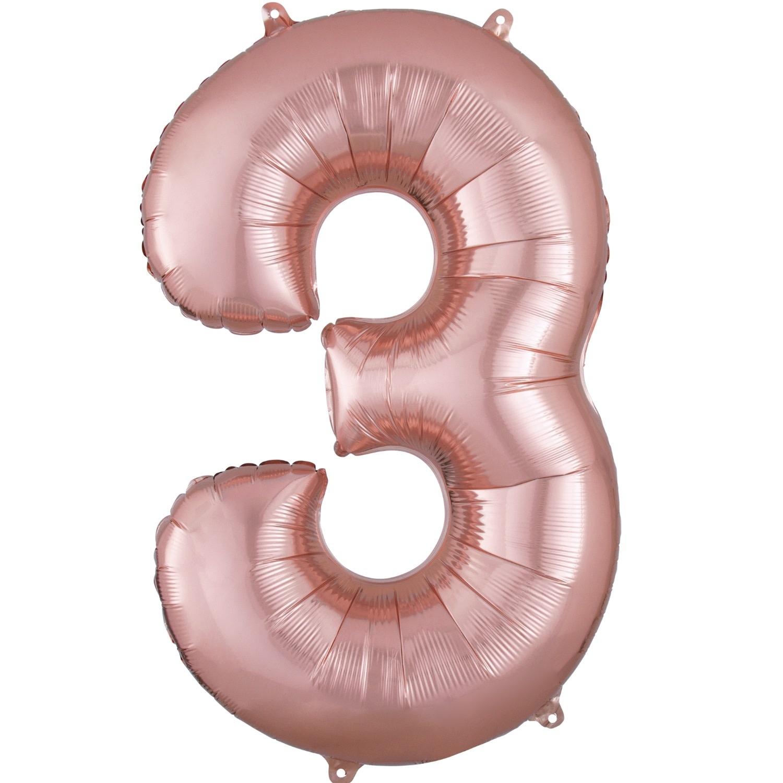 "Number ""3"" Mylar Balloon -34"" Rose Gold"